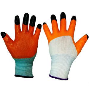 Перчатки нейлоновые с нитриловым покрытием и усиленными пальчиками