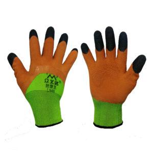 Перчатки нейлоновые с вспененным латексным покрытием и усиленными пальчиками